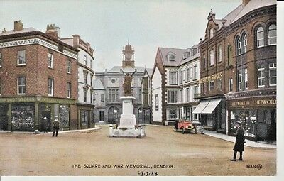 1933 DENBIGH The Square and War Memorial - shops, statue, people, Valentine's