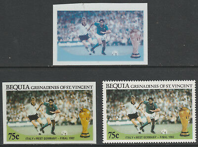 St Vincent Bequia 5485 - 1986 WORLD CUP FOOTBALL 75c TWO CROMALIN PROOFS