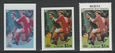 St Vincent Bequia 5491 - 1986 WORLD CUP FOOTBALL $3.50 TWO CROMALIN PROOFS