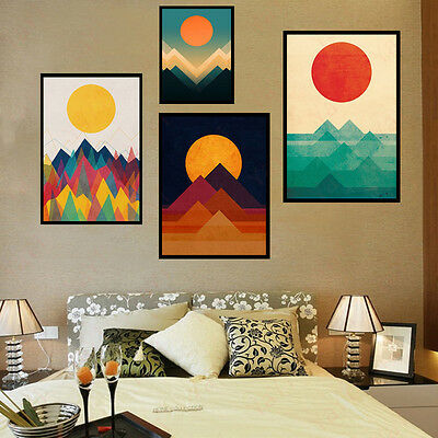 Nordic Style Art Painting Abstract Wall Decor Sunrise on Canvas Painted Painting