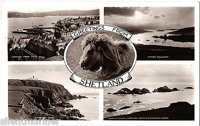 Shetland, old RP multiview postcard, unposted