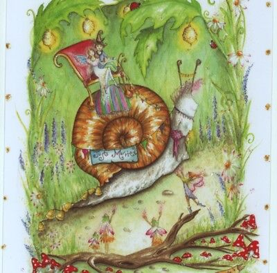 "Mint.! ""wedding Day!"" Bride & Groom Ride Snail,fairies,collectible,greeting Card"