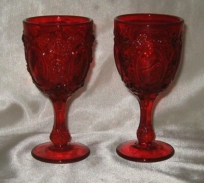 LG Wright 2 Ruby Mirrors and Roses Ruby Goblets 3 Ounce