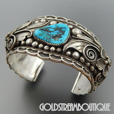 Vintage Outstanding Apachito Navajo Sterling Silver Turquoise Floral Solid Cuff