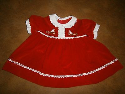 Vintage Toddle Tyke Baby Dress Red Velveteen Embroidered Size 12 Months