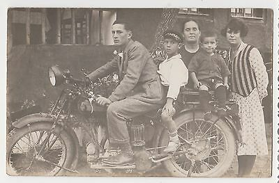 Vintage 1920s/30s Real Photo Young Man & Boys Pose on TRIUMPH Motorcycle