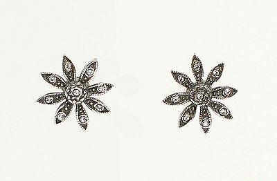 925 Silver earring Flower with Swarovski Stones a8-01442