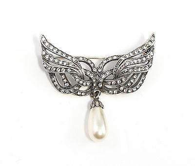 925 Silver Brooch with Swarovski Stones u. synth. Bead wing-Form a8-01472