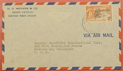 1958 Cayman Islands 1Sh Single Franked Airmail To Usa