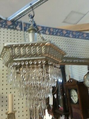 art deco chandelier dozens of crystals
