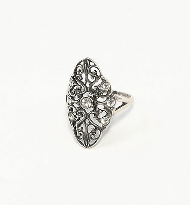 Silver 925 Ring with Swarovski Stones Big 52 spiral Form a1-01393