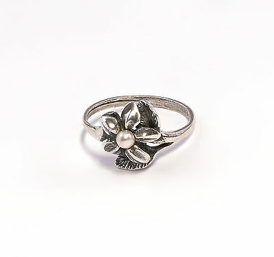 Silver 925 Ring Blossom with synthetic Bead Big 53 a1-01360