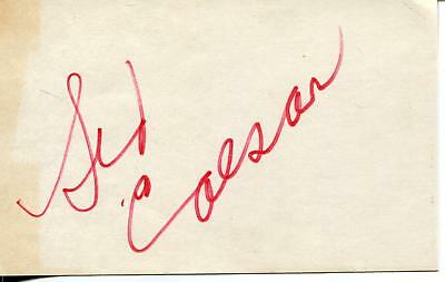 Sid Caesar Your Show Of Shows & Grease Actor Comedian Signed Card Autograph