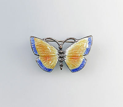 Silver 925 enamelled Brooch Butterfly Art Nouveau-Art blue yellow a1-01290