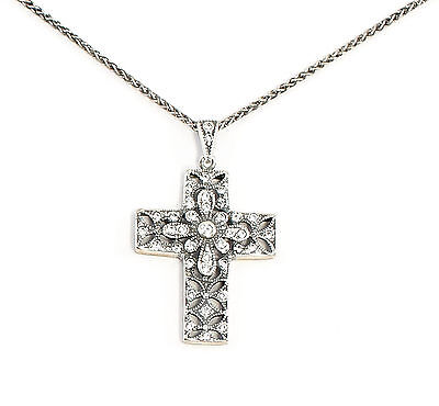 Silver 925 Art Nouveau Pendant Cross on chain with Swarovski Stones a1-01648