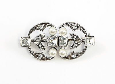 Silver 925 Art Nouveau Brooch with Swarovski-stones synth. Pearls a2-01538