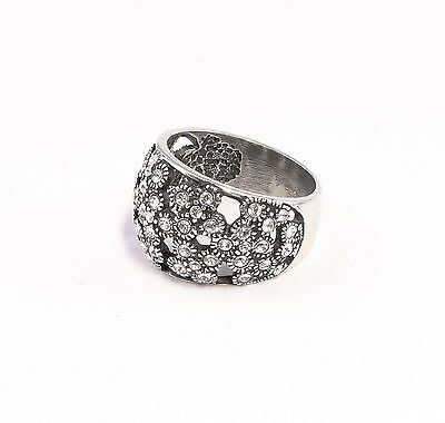 Silver 925 Ring with Swarovski Stones Big 58 floral design a2-01352