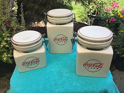 Coca Cola CAFE Canister Set by GIBSON Circa 2000 Red & White Ceramic $15 Buy Now