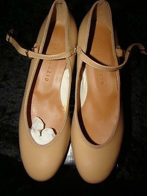 Ladies Tan Character/theatrical Dance Shoes Size 7 1/2 M By Angelo Luzio New