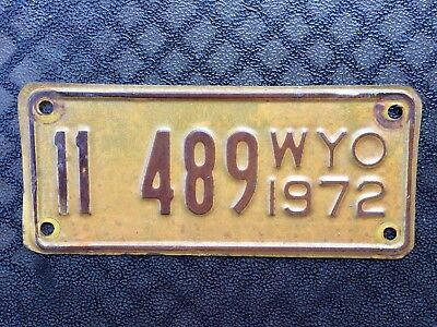 1972 Wyoming Motorcycle License Plate 11 489
