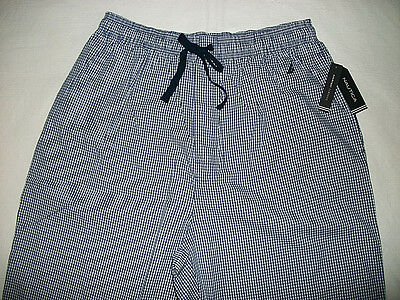 New Nautica Men's NAVY BLUE-WHITE PLAID Long Sleep Pants Cotton Size M