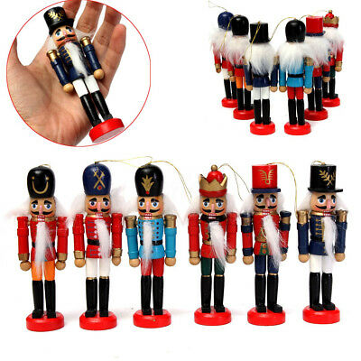 """5"""" 6x Wooden Nutcracker Soldier Christmas Gifts Walnut Puppet Toy Party Decor"""