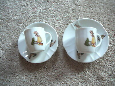 ANTIQUE CHINA - 2 Cups & Saucers Child's Tea Set - Little Girl & Frog -  Germany