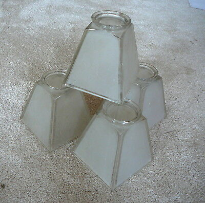 "SET of FOUR ANTIQUE ORIGINAL FROSTED GLASS SQUARE MISSION SHADES 2-1/4"" FITTER"