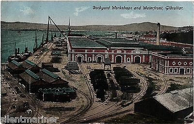 Gibraltar, Dockyard Workshops and Waterfront, old coloured postcard, unposted