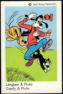 1967 Vintage Swedish Unnumbered Disney Set Gum Card Goofy & Pluto