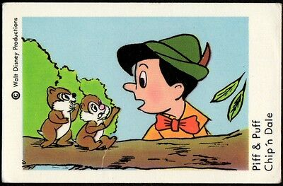 1967 Vintage Swedish Unnumbered Disney Set Gum Card Chip And Dale - Pinocchio