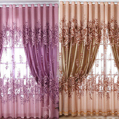Door Window Curtain Floral Tulle Voile Drape Panel Sheer Scarf Valances NEW