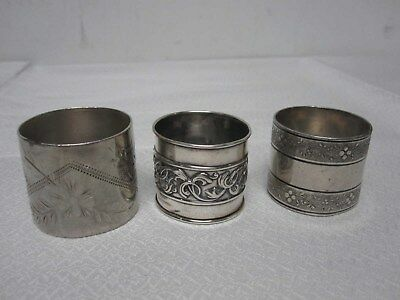 3 Vtg Silverplate Napkin Rings ~ Etched Flower, Band Of Berries & Acanthus Leaf
