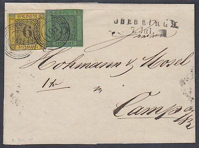 "1853/54, 3 Kr. und 6 Kr.: ""101"" – OBERKIRCH  nach Camp in Nassau  Mi.Nr.6,7 #103"