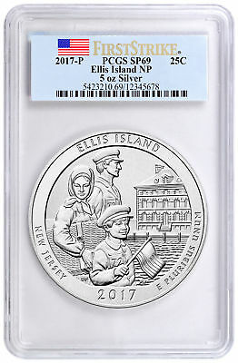2017-P Ellis Island 5 oz Silver ATB Beautiful PCGS SP69 FS Flag Label SKU48484