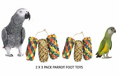 2 X 3 Pack Woven Wonders Parrot Foot Toys For All Parrots African Grey Etc 22315