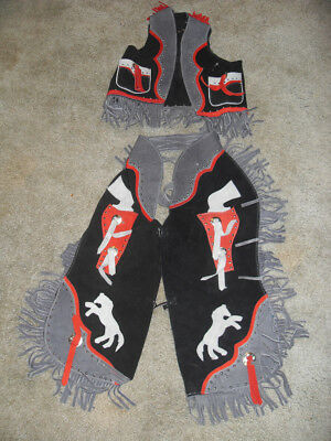 Premium Youth Chaps, Black, Blue/red Suede Leather With Matching Vest (Size L)