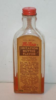 Vintage McNess Imitation Butter Flavored 4 Oz. Extract Bottle