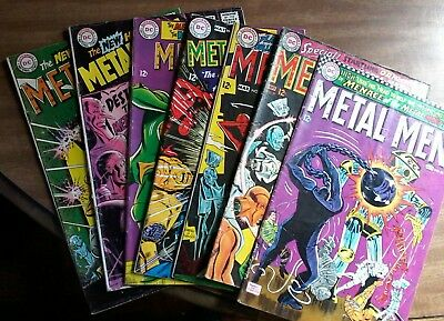 "Lot Of 7 ""metal Men"" The Amazing Scool For Robots, New Hunted Metal Men  1960's"