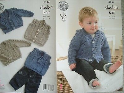 King Cole 4154 Baby's Cardigan,Sweater & Gilet DK Knitting Pattern Sizes 14-22""