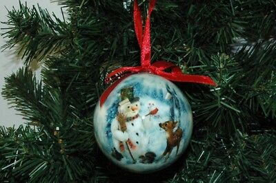 snowman with deer squirrel rabbit and redbird round ball christmas ornament
