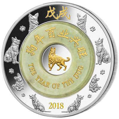 "2018 ""LUNAR YEAR OF THE DOG"" 2oz Silver Coin .999 real Jade 2000 KIP Laos"