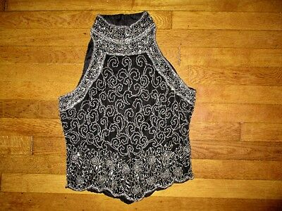 VINTAGE PAPELL BOUTIQUE sz M black ornate beaded sleeveless top