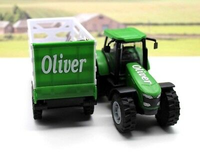 PERSONALISED NAME Gift Green Farm Tractor Trailer Boys Toy Christmas Present Box