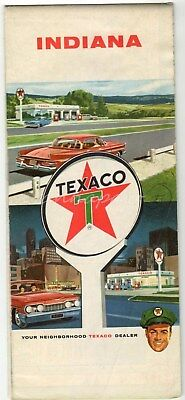 Texaco Gas Station Map Indiana 1960 Vintage Road Map