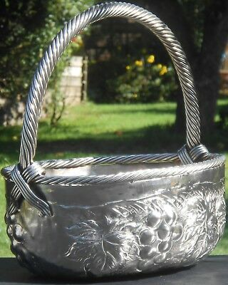 Unusual Vintage Large Silver Plated Basket - Grapes & Vines