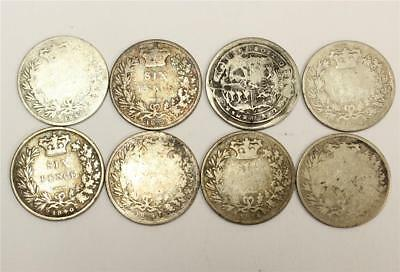 1816 4x 1834 1838 2x 1840 silver Six 6 Pence UK Great Britain 8x damaged coins