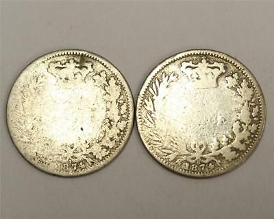 2x 1874 Six Pence Die numbers 7 and 8 Great Britain UK 2x coins poor damaged