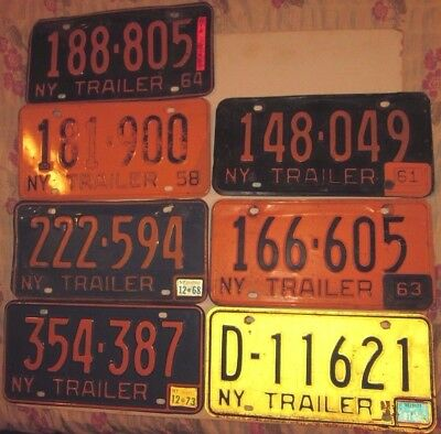 lot of 7 VINTAGE NEW YORK STATE LICENSE PLATEs NY SOME WITH TAGS 1958 1961 63-87