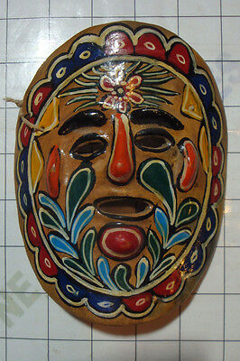 vintage Mexico colorful clay ceramic wall hand painted folk Mexican ART MASK